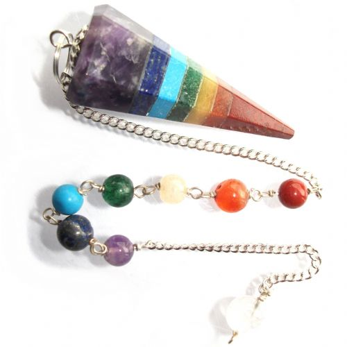 7 Chakra Stone Pendulum Dowsing Crystal Point